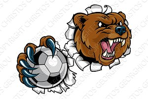 Bear Holding Soccer Ball Breaking