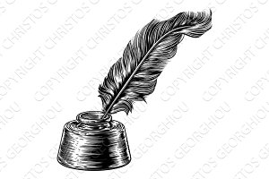 Feather Quill Ink Pen in Inkwell
