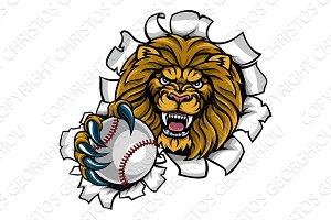 Lion Holding Baseball Ball Breaking