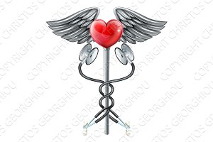 Heart Caduceus Stethoscope Medical