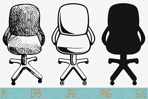 computer chair, set vector svg png