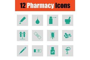 Set of twelve pharmacy icons