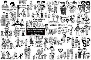 Family StickFigure/Doodle AI EPS PNG