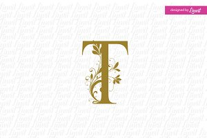 T wedding logo, t initial, t font,