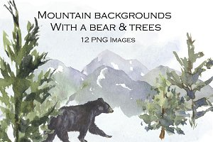 Mountain Background, Bear and Trees