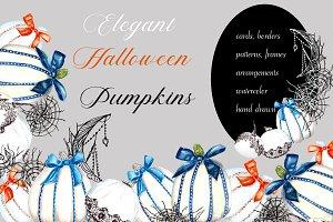 Elegant Halloween Pumpkins Set.