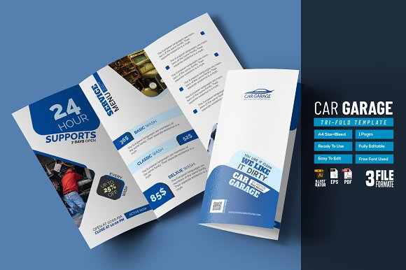 car garage tri fold template brochure templates creative market