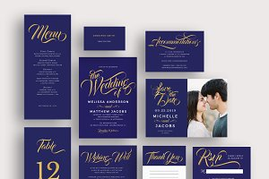 Modern gold blue calligraphy invites