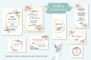 Cute boho wedding invitation set1#