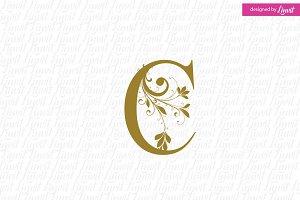 modern wedding monogram c letter