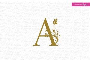 Modern Wedding Monogram A, A initial