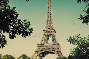 Eiffel Tower in Paris. Vintage