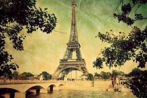 Eiffel Tower in Paris. Vintage