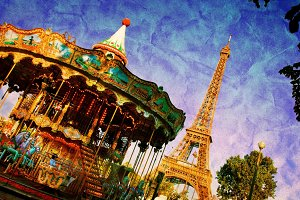Eiffel Tower and vintage carousel