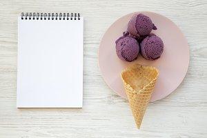 Sweet ice cream cone with ice cream