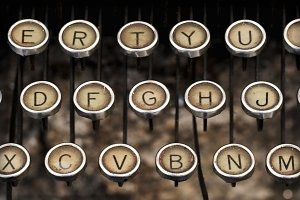 old typewriter keyboard closeup