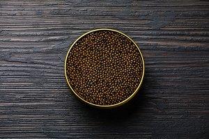 Black caviar in can