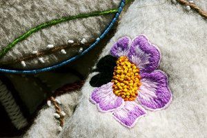 antique embroidery flower on wool