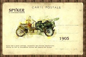 retro car in sketch style
