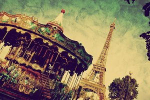 Carousel and Eiffel Tower. Vintage