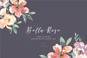 Bella Rose Watercolor Floral Clipart