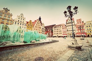 The market square, Wroclaw. Vintage