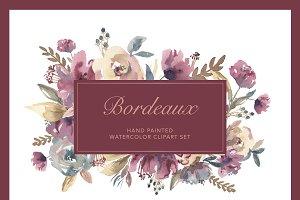 Bordeaux - Watercolor Floral ClipArt