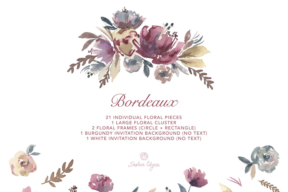 Bordeaux Watercolor Floral Clipart Custom Designed