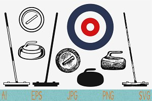 Curling game element set svg