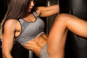 Beautiful female workout functional