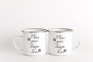 2 Tin Enamel mugs two cup mockup