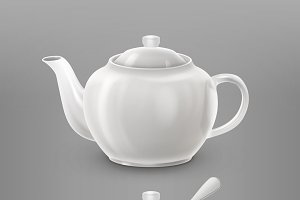 White teapot and sugar bowl