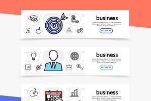 Business icons horizontal banners