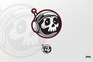 Astronaut Skull Logo Vector