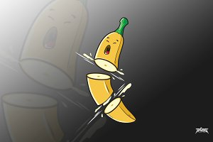 Banana Cut in Pieces Vector