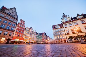 Wroclaw market square at the evening