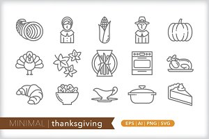Minimal thanksgiving icons