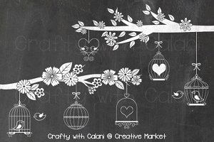 Chalkboard Love Bird & Bird Cage