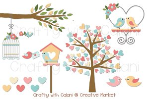 Pastel Love Bird with Heart Tree