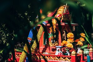 Beautiful Colorful Red Thai Shrine