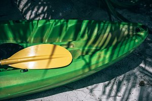 Green Kayak Laying Under Palm Tree