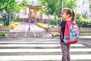 Children go to school, a happy stude
