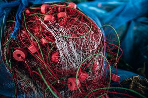 Red and White Fishing Nets