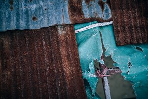 Rusty Rooftop of Old Longtail Boat