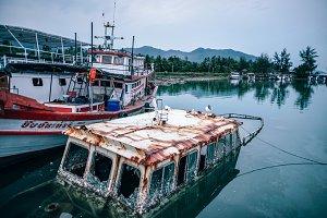 Sunken Grungy Boat