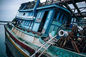 Sunken Wooden Boat in Koh Phangan