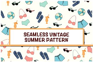 Seamless Vintage Summer Pattern