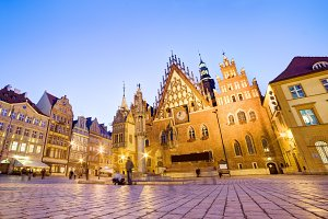 The historical Town Hall in Wroclaw