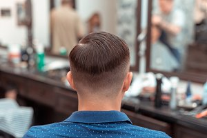Men's haircut and styling in