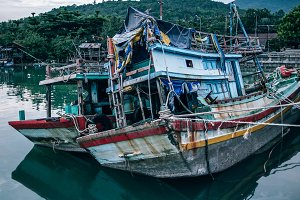 Two Sunken Wooden Boats